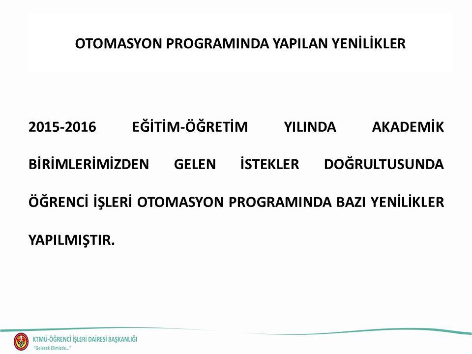 OTOMASYON PROGRAMINDA YAPILAN YENİLİKLER 2015-2016 EĞİTİM-ÖĞRETİM YILINDA AKADEMİK BİRİMLERİMİZDEN GELEN İSTEKLER DOĞRULTUSUNDA ÖĞRENCİ İŞLERİ OTOMASY
