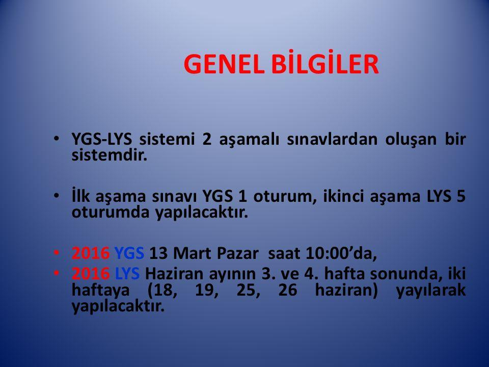 YGS-LYS sistemi 2 aşamalı sınavlardan oluşan bir sistemdir. İlk aşama sınavı YGS 1 oturum, ikinci aşama LYS 5 oturumda yapılacaktır. 2016 YGS 13 Mart