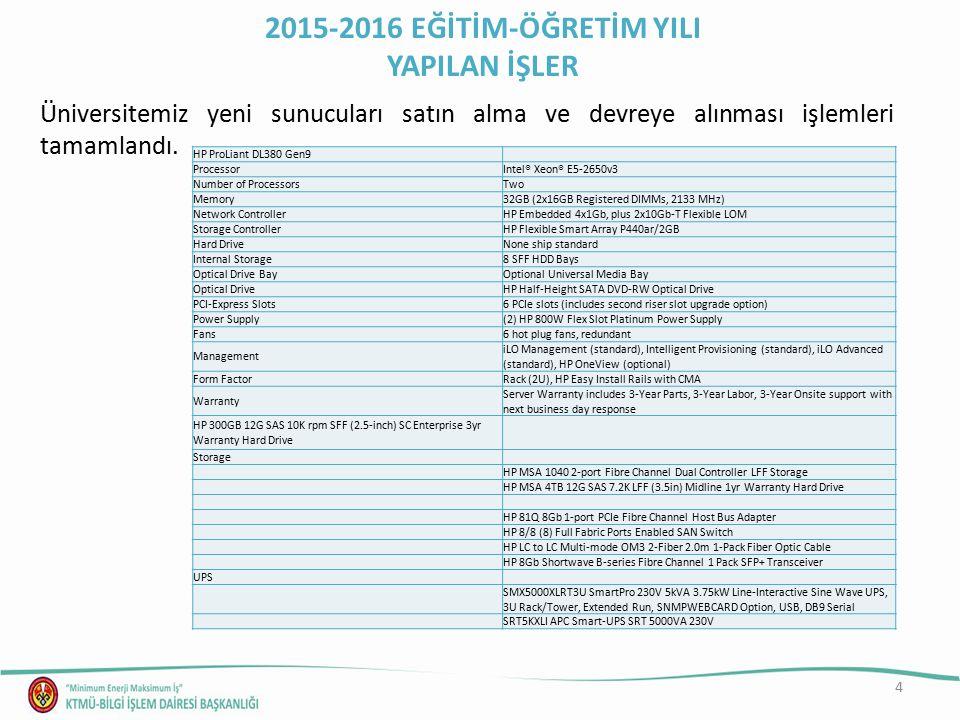 4 Üniversitemiz yeni sunucuları satın alma ve devreye alınması işlemleri tamamlandı. 2015-2016 EĞİTİM-ÖĞRETİM YILI YAPILAN İŞLER HP ProLiant DL380 Gen
