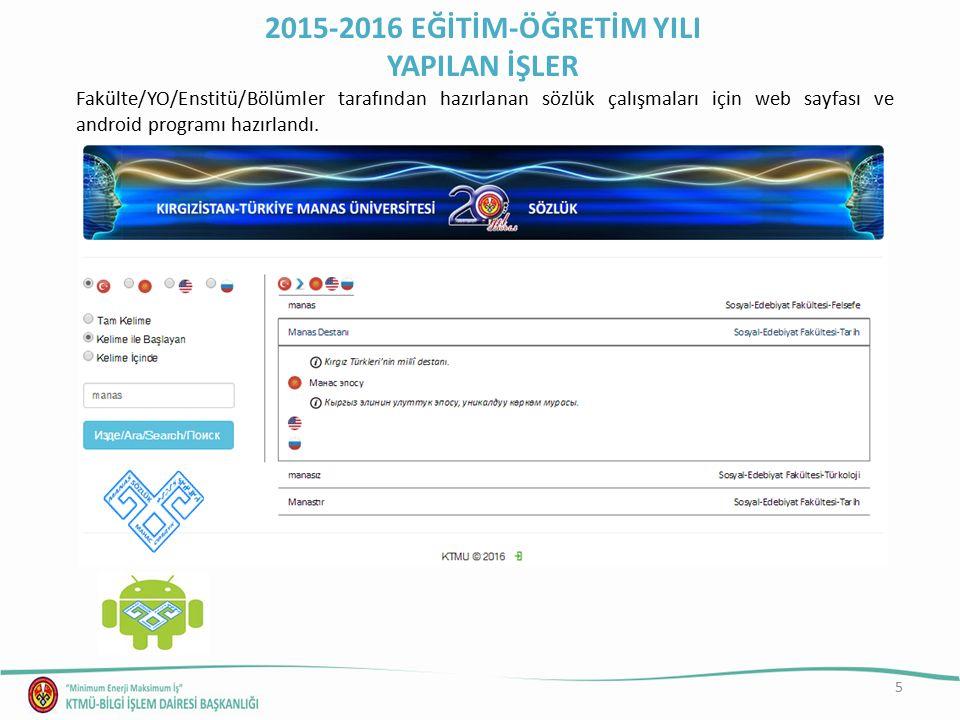 6 KTMÜ personeli ve öğrencilerinin YÖKSİS e kayıt işlemleri için Öğrenci İşleri Dairesi Başkanlığı ile birlikte veri aktarımı için arayüz tasarımı tamamlandı (http://192.168.80.11/index.php?id=1).http://192.168.80.11/index.php?id=1 2015-2016 EĞİTİM-ÖĞRETİM YILI YAPILAN İŞLER