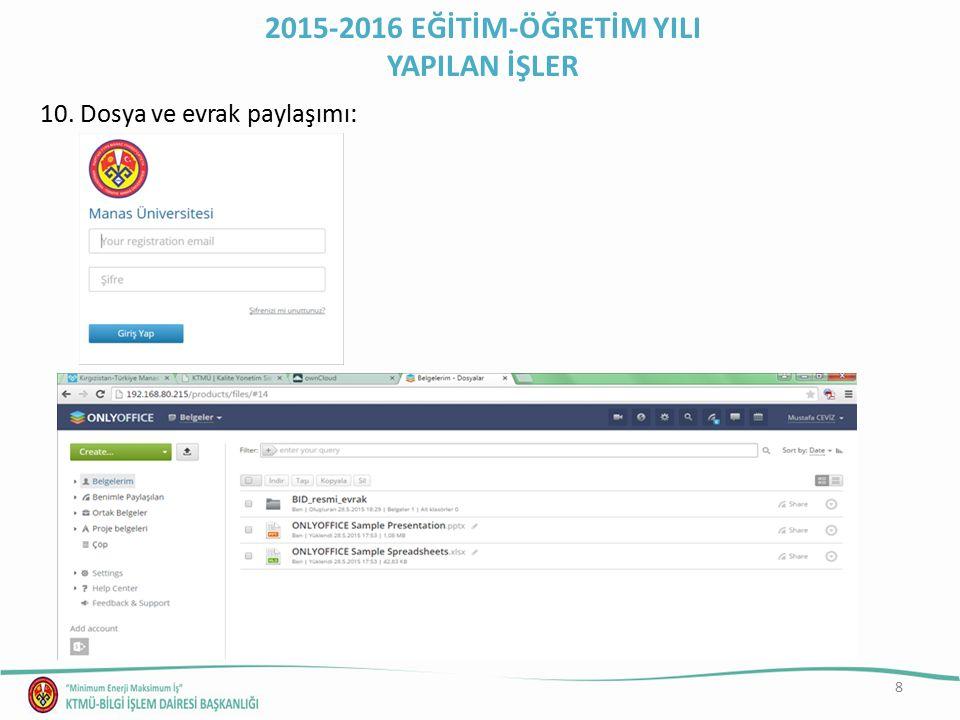 8 10. Dosya ve evrak paylaşımı: 2015-2016 EĞİTİM-ÖĞRETİM YILI YAPILAN İŞLER