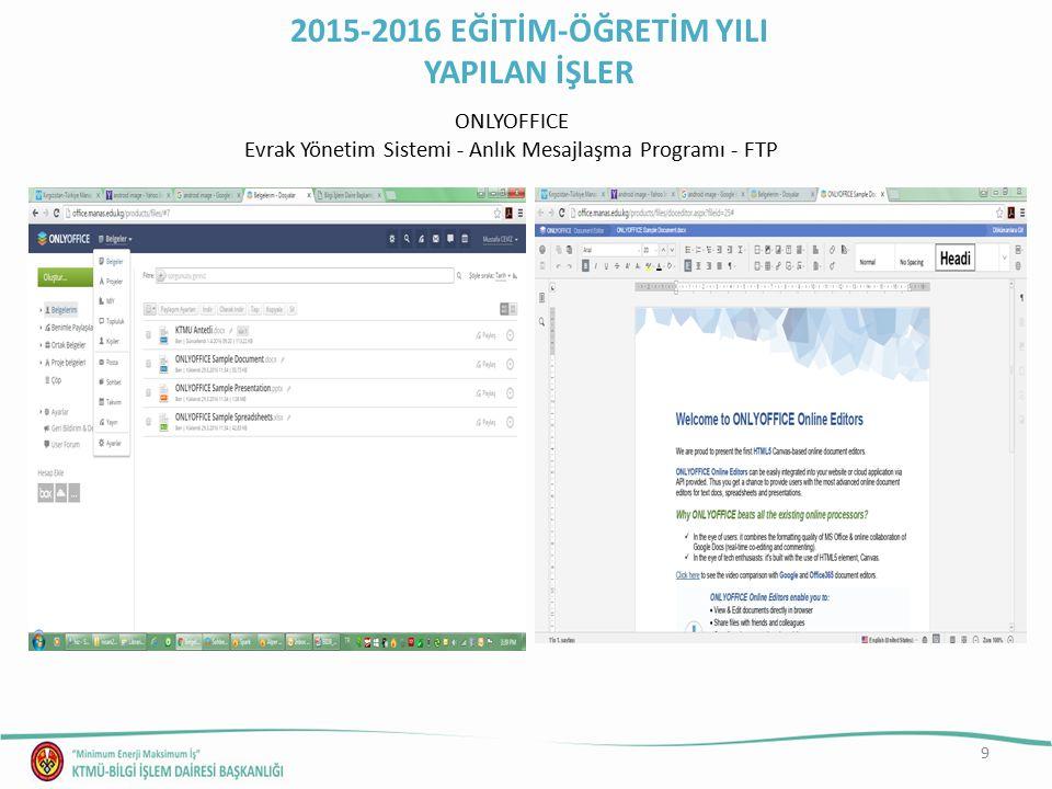 10 Bilgi İşlem Dairesi Başkanlığı Hizmetleri Online Destek (http://bidestek.manas.edu.kg/)http://bidestek.manas.edu.kg/ 2015-2016 EĞİTİM-ÖĞRETİM YILI YAPILAN İŞLER