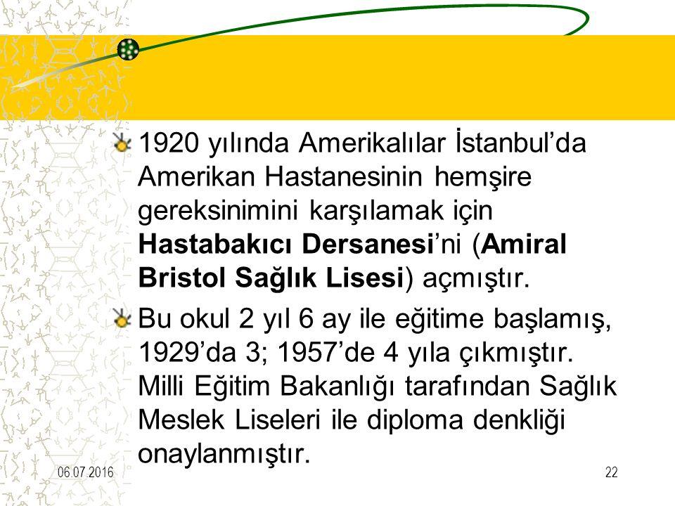 1920 yılında Amerikalılar İstanbul'da Amerikan Hastanesinin hemşire gereksinimini karşılamak için Hastabakıcı Dersanesi'ni (Amiral Bristol Sağlık Lise