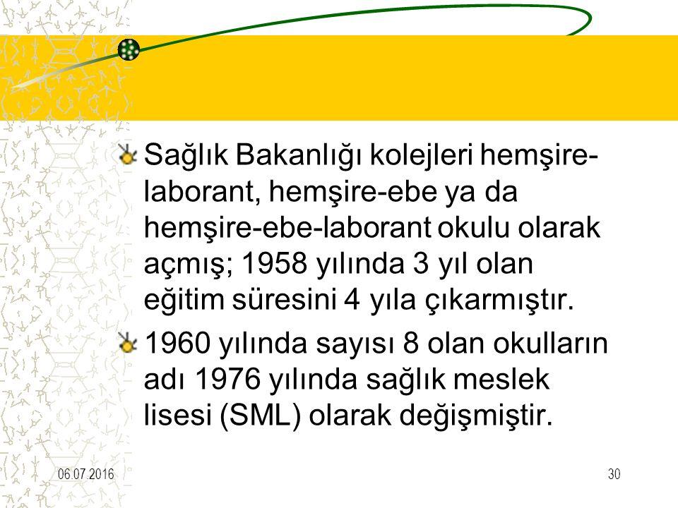 Sağlık Bakanlığı kolejleri hemşire- laborant, hemşire-ebe ya da hemşire-ebe-laborant okulu olarak açmış; 1958 yılında 3 yıl olan eğitim süresini 4 yıla çıkarmıştır.