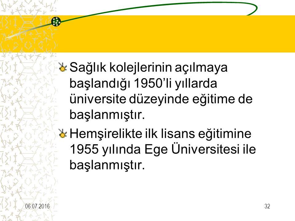 Sağlık kolejlerinin açılmaya başlandığı 1950'li yıllarda üniversite düzeyinde eğitime de başlanmıştır. Hemşirelikte ilk lisans eğitimine 1955 yılında