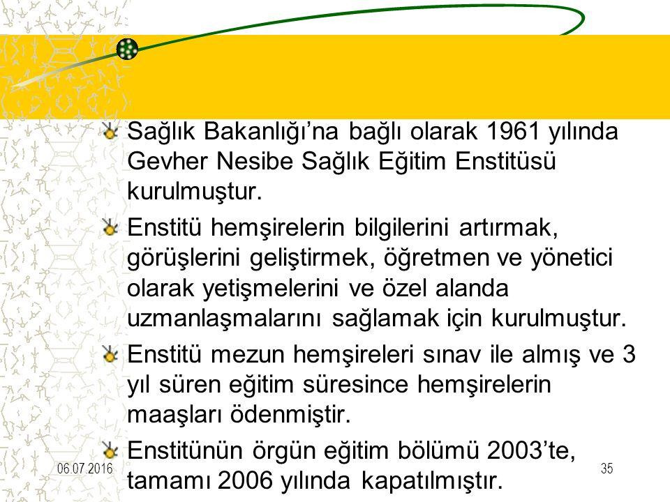 Sağlık Bakanlığı'na bağlı olarak 1961 yılında Gevher Nesibe Sağlık Eğitim Enstitüsü kurulmuştur. Enstitü hemşirelerin bilgilerini artırmak, görüşlerin