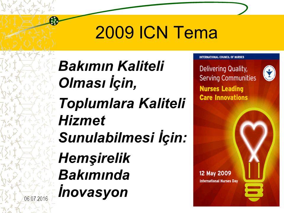 2009 ICN Tema Bakımın Kaliteli Olması İçin, Toplumlara Kaliteli Hizmet Sunulabilmesi İçin: Hemşirelik Bakımında İnovasyon 06.07.201645