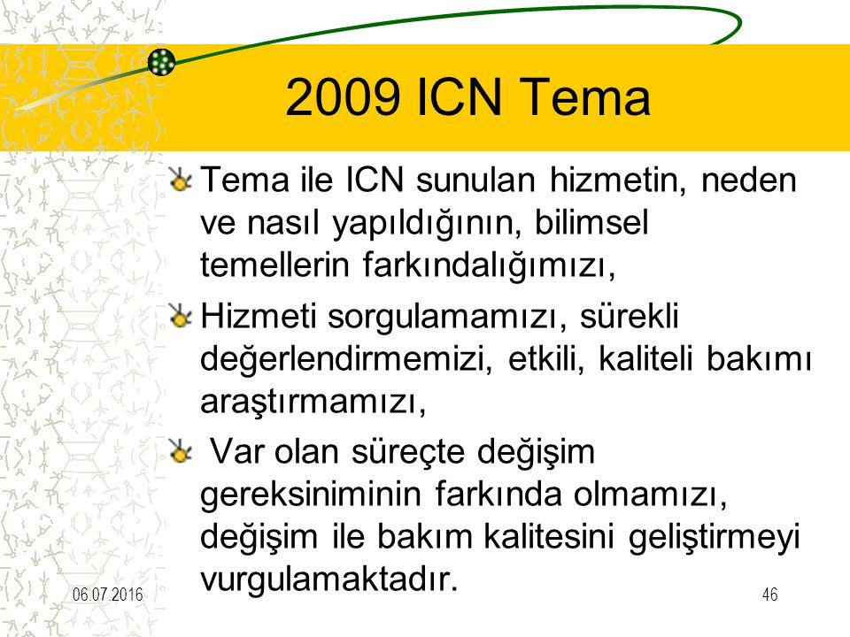 2009 ICN Tema Tema ile ICN sunulan hizmetin, neden ve nasıl yapıldığının, bilimsel temellerin farkındalığımızı, Hizmeti sorgulamamızı, sürekli değerlendirmemizi, etkili, kaliteli bakımı araştırmamızı, Var olan süreçte değişim gereksiniminin farkında olmamızı, değişim ile bakım kalitesini geliştirmeyi vurgulamaktadır.