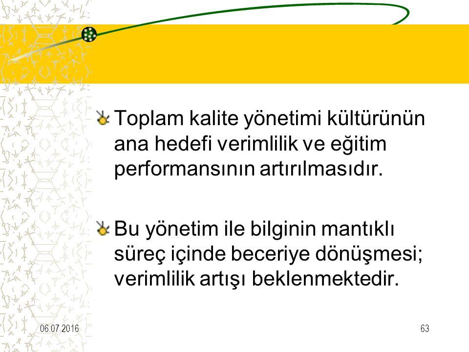 Toplam kalite yönetimi kültürünün ana hedefi verimlilik ve eğitim performansının artırılmasıdır. Bu yönetim ile bilginin mantıklı süreç içinde beceriy