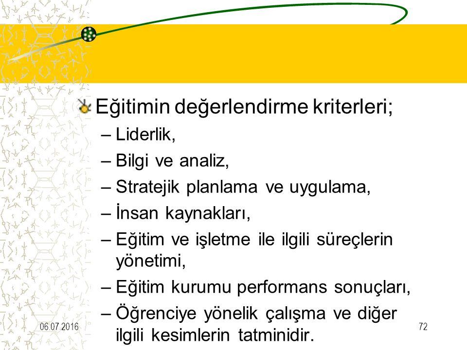 Eğitimin değerlendirme kriterleri; –Liderlik, –Bilgi ve analiz, –Stratejik planlama ve uygulama, –İnsan kaynakları, –Eğitim ve işletme ile ilgili süre