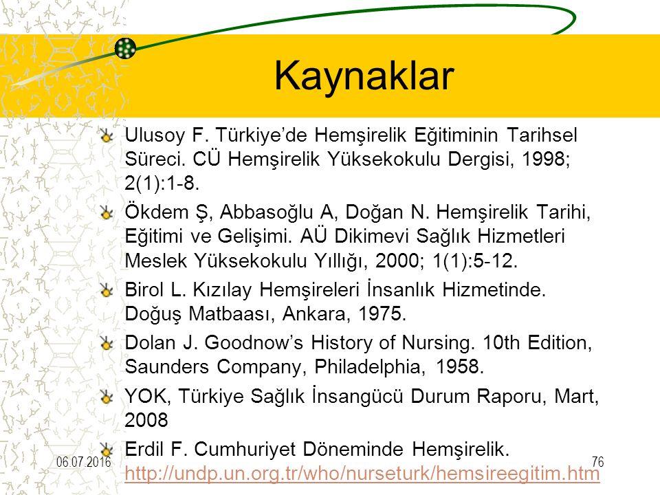 Kaynaklar Ulusoy F. Türkiye'de Hemşirelik Eğitiminin Tarihsel Süreci. CÜ Hemşirelik Yüksekokulu Dergisi, 1998; 2(1):1-8. Ökdem Ş, Abbasoğlu A, Doğan N