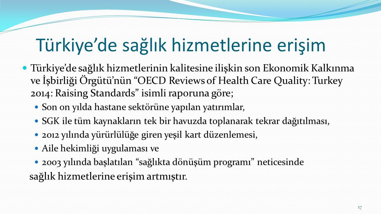 """Türkiye'de sağlık hizmetlerine erişim Türkiye'de sağlık hizmetlerinin kalitesine ilişkin son Ekonomik Kalkınma ve İşbirliği Örgütü'nün """"OECD Reviews o"""