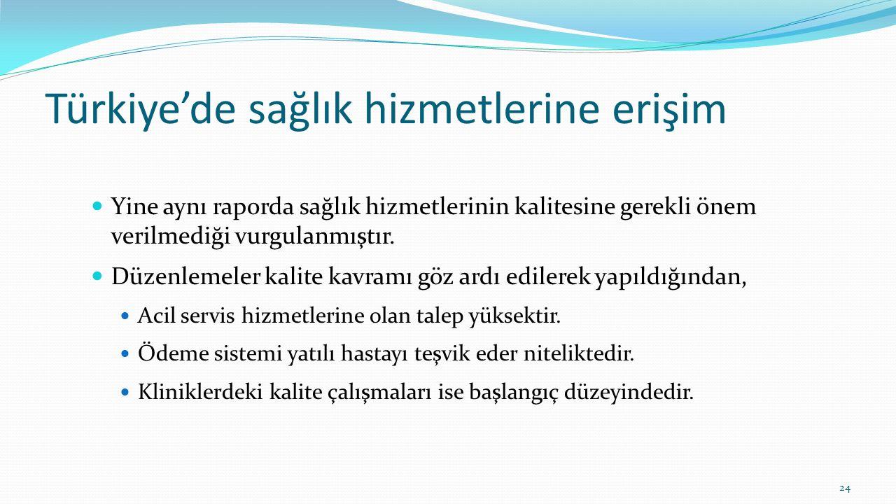 Türkiye'de sağlık hizmetlerine erişim Yine aynı raporda sağlık hizmetlerinin kalitesine gerekli önem verilmediği vurgulanmıştır. Düzenlemeler kalite k