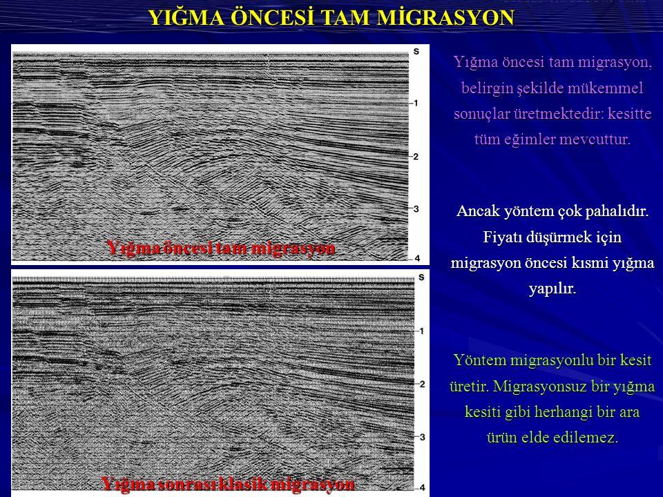 YIĞMA ÖNCESİ TAM MİGRASYON Yığma öncesi tam migrasyon, belirgin şekilde mükemmel sonuçlar üretmektedir: kesitte tüm eğimler mevcuttur.