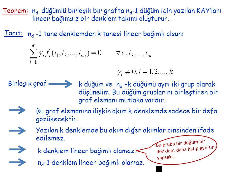 Teorem: n d düğümlü birleşik bir grafta n d -1 düğüm için yazılan KAY'ları lineer bağımsız bir denklem takımı oluşturur. Tanıt: n d -1 tane denklemden