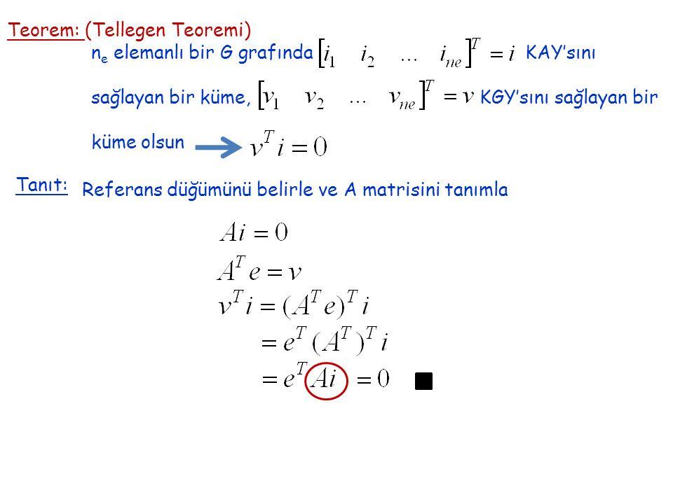 Teorem: (Tellegen Teoremi) n e elemanlı bir G grafında KAY'sını sağlayan bir küme, KGY'sını sağlayan bir küme olsun Tanıt: Referans düğümünü belirle ve A matrisini tanımla