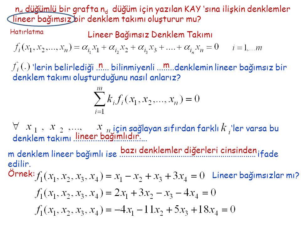n d düğümlü bir grafta n d düğüm için yazılan KAY 'sına ilişkin denklemler lineer bağımsız bir denklem takımı oluşturur mu.