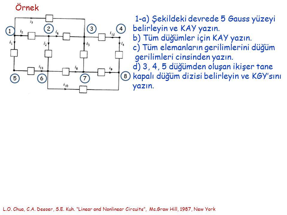 Örnek 1-a) Şekildeki devrede 5 Gauss yüzeyi belirleyin ve KAY yazın. b) Tüm düğümler için KAY yazın. c) Tüm elemanların gerilimlerini düğüm gerilimler