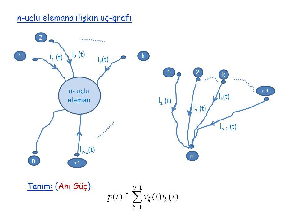 n-uçlu elemana ilişkin uç-grafı 1k n n- uçlu eleman İ 1 (t) İ k (t) 2 İ 2 (t) n-1 İ n-1 (t) n İ 1 (t) 12 İ 2 (t) n-1 İ n-1 (t) k İ k (t) Tanım: (Ani G
