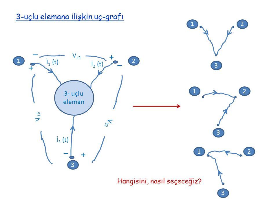 12 3 + + + _ _ _ 3- uçlu eleman V 21 V 32 V 13 İ 1 (t) İ 2 (t) İ 3 (t) 3-uçlu elemana ilişkin uç-grafı 12 3 12 3 12 3 Hangisini, nasıl seçeceğiz?