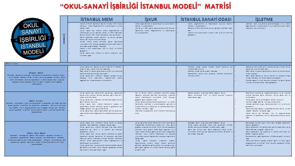KOORDİNASYON İSTANBUL MEM İŞKUR İSTANBUL SANAYİ ODASIİŞLETME  Mesleki ve Teknik Eğitimden Sorumlu İstanbul MEM Müdür Yardımcısı, İzleme, Değerlendirme ve Koordinasyon Kuruluna başkanlık eder.