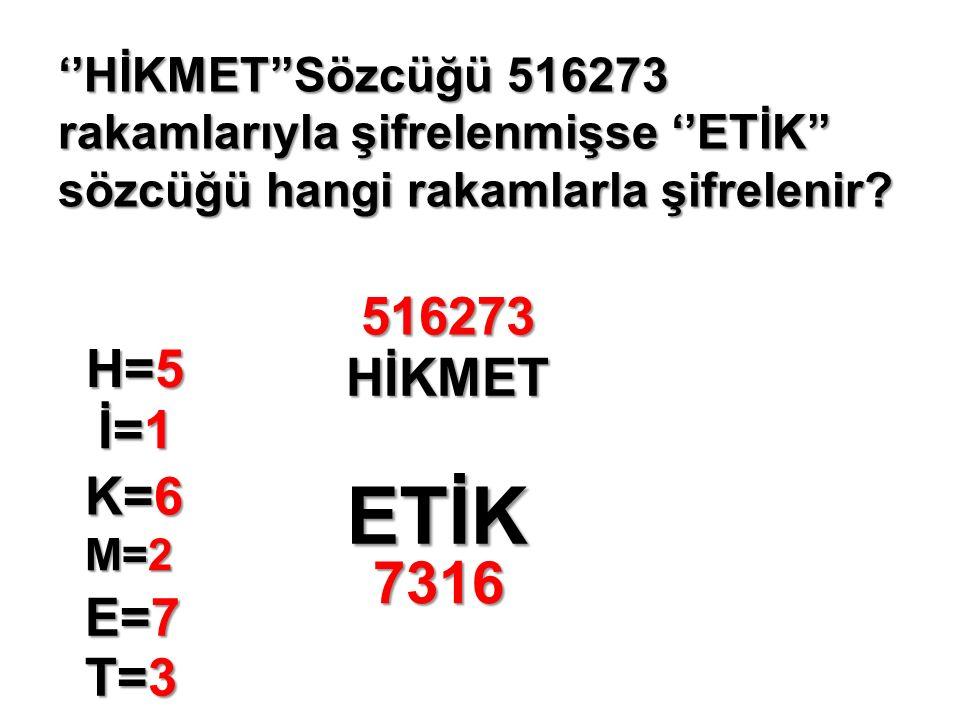 ''HİKMET''Sözcüğü 516273 rakamlarıyla şifrelenmişse ''ETİK'' sözcüğü hangi rakamlarla şifrelenir.