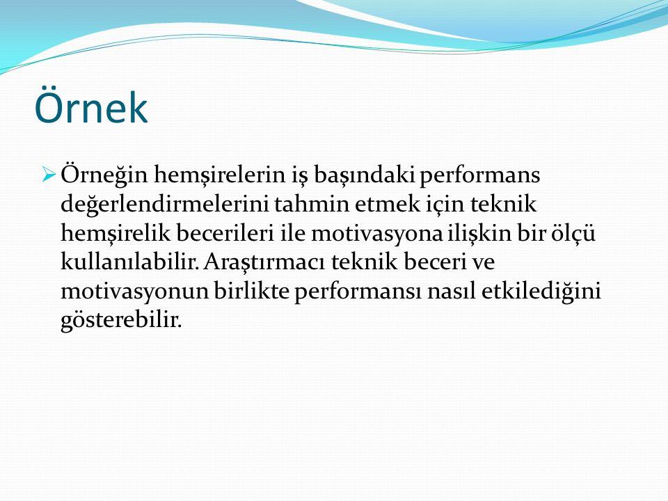 Örnek  Örneğin hemşirelerin iş başındaki performans değerlendirmelerini tahmin etmek için teknik hemşirelik becerileri ile motivasyona ilişkin bir öl