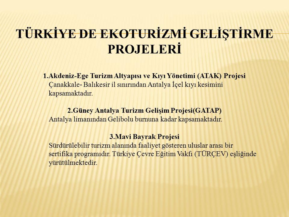 TÜRKİYE DE EKOTURİZMİ GELİŞTİRME PROJELERİ 1.Akdeniz-Ege Turizm Altyapısı ve Kıyı Yönetimi (ATAK) Projesi Çanakkale- Balıkesir il sınırından Antalya İçel kıyı kesimini kapsamaktadır.