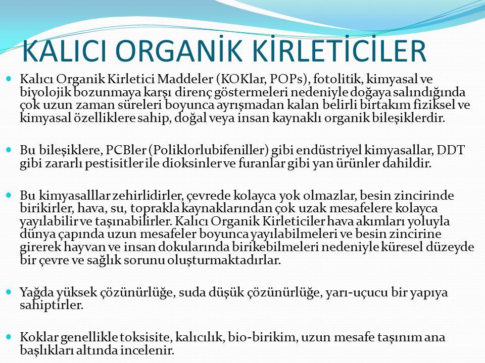 KALICI ORGANİK KİRLETİCİLER Kalıcı Organik Kirletici Maddeler (KOKlar, POPs), fotolitik, kimyasal ve biyolojik bozunmaya karşı direnç göstermeleri nedeniyle doğaya salındığında çok uzun zaman süreleri boyunca ayrışmadan kalan belirli birtakım fiziksel ve kimyasal özelliklere sahip, doğal veya insan kaynaklı organik bileşiklerdir.