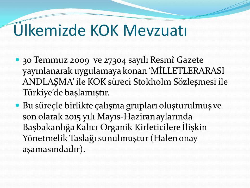 Ülkemizde KOK Mevzuatı 30 Temmuz 2009 ve 27304 sayılı Resmî Gazete yayınlanarak uygulamaya konan 'MİLLETLERARASI ANDLAŞMA' ile KOK süreci Stokholm Sözleşmesi ile Türkiye'de başlamıştır.