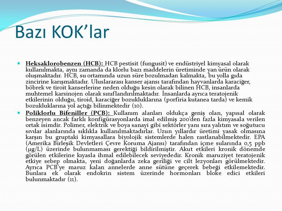 Bazı KOK'lar Heksaklorobenzen (HCB): HCB pestisit (fungusit) ve endüstriyel kimyasal olarak kullanılmakta, aynı zamanda da klorlu bazı maddelerin üretiminde yan ürün olarak oluşmaktadır.