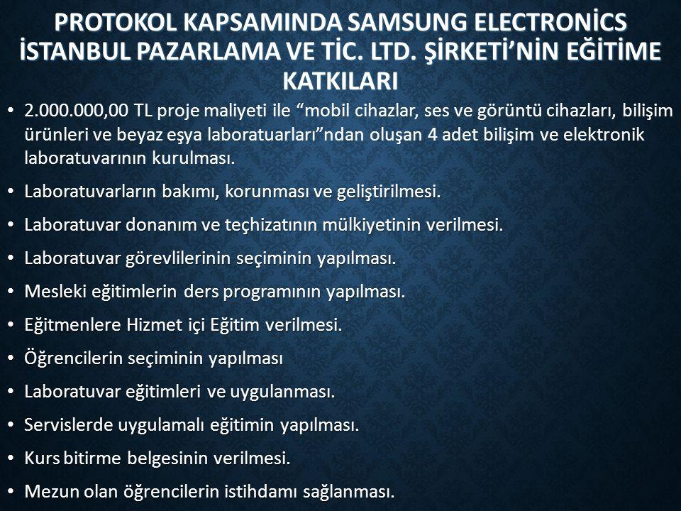 PROTOKOL KAPSAMINDA SAMSUNG ELECTRONİCS İSTANBUL PAZARLAMA VE TİC.