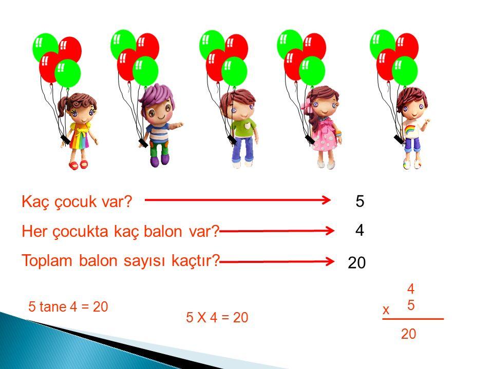 Kaç çocuk var. Her çocukta kaç balon var. Toplam balon sayısı kaçtır.