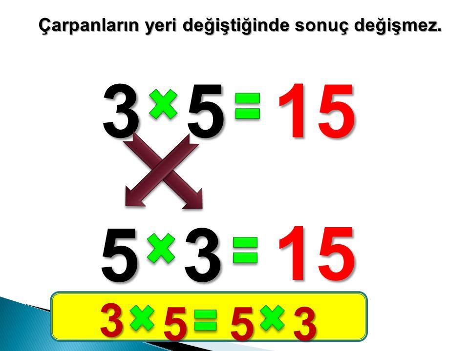 3515 Çarpanların yeri değiştiğinde sonuç değişmez. 53 15 3 553