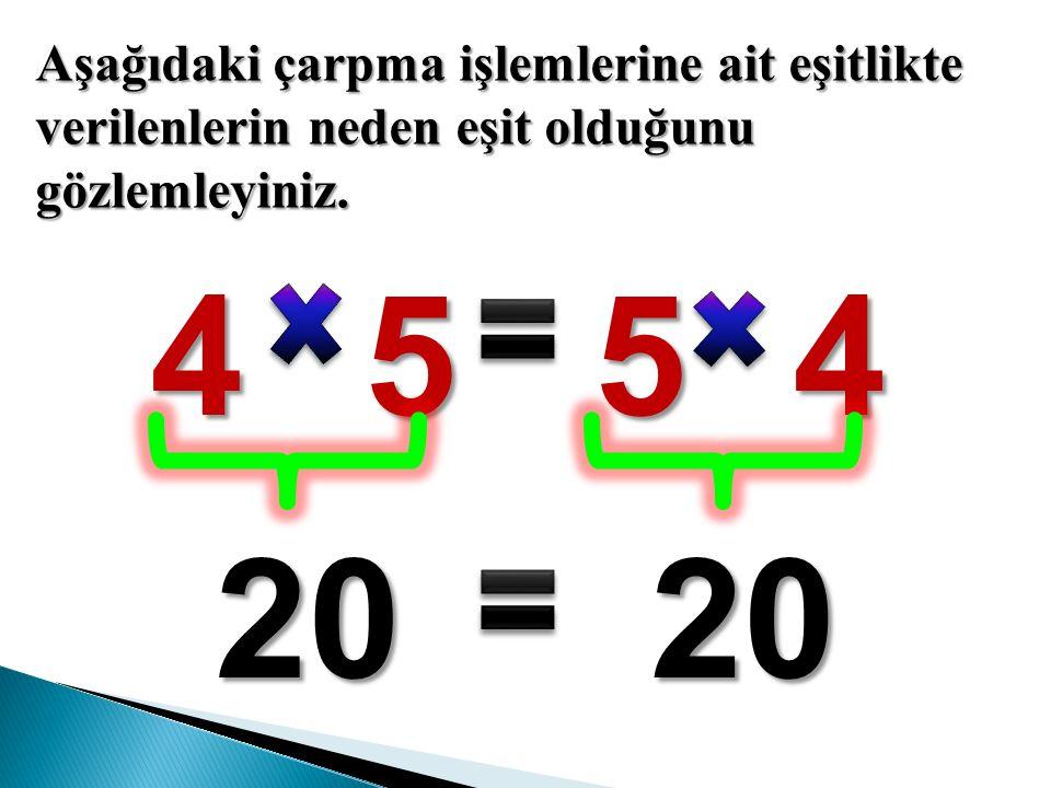Aşağıdaki çarpma işlemlerine ait eşitlikte verilenlerin neden eşit olduğunu gözlemleyiniz.