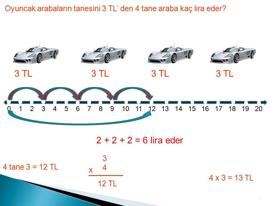 Oyuncak arabaların tanesini 3 TL' den 4 tane araba kaç lira eder.
