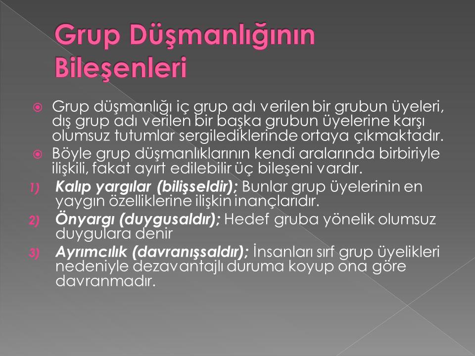  Grup düşmanlığı iç grup adı verilen bir grubun üyeleri, dış grup adı verilen bir başka grubun üyelerine karşı olumsuz tutumlar sergilediklerinde ortaya çıkmaktadır.