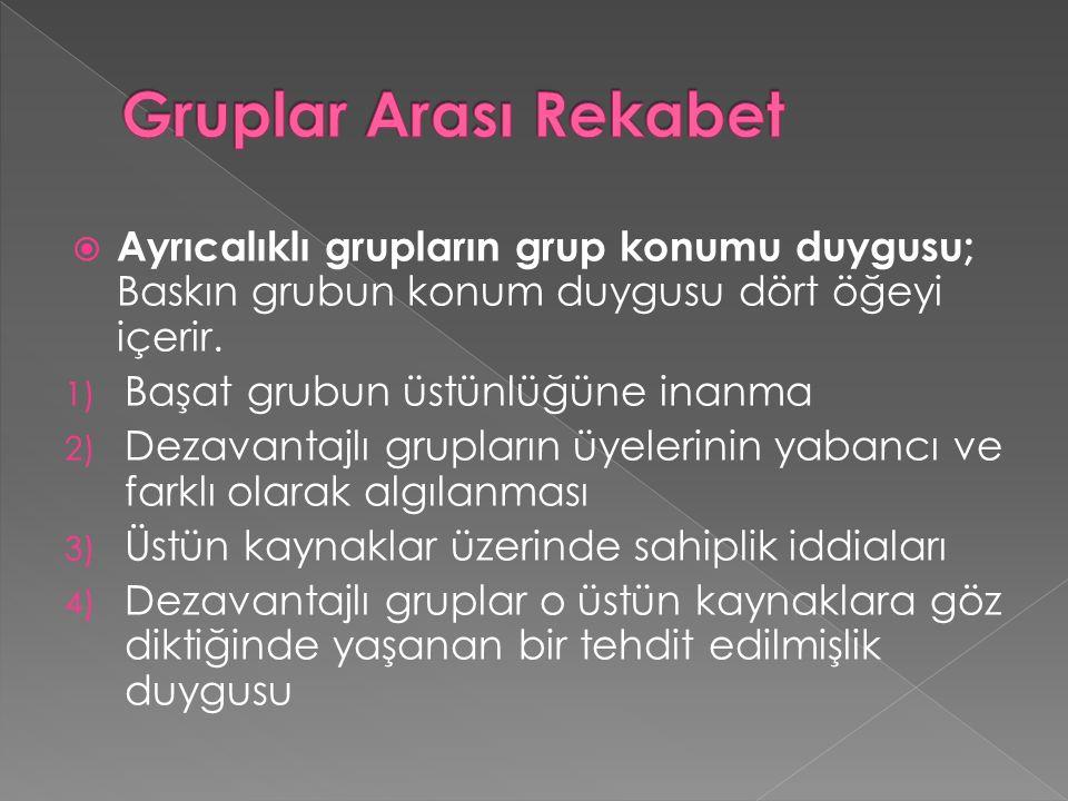  Ayrıcalıklı grupların grup konumu duygusu; Baskın grubun konum duygusu dört öğeyi içerir.