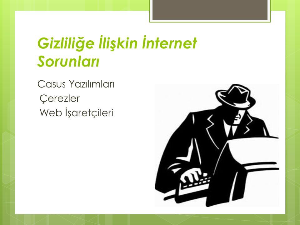 Gizliliğe İlişkin İnternet Sorunları Casus Yazılımları Çerezler Web İşaretçileri
