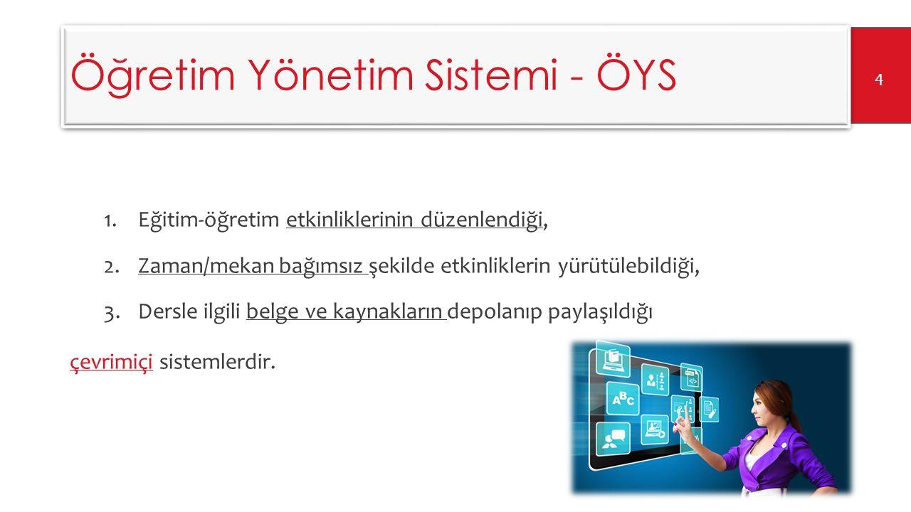 Öğretim Yönetim Sistemi - ÖYS ÖYS eğitsel içeriği ileten ve dağıtan, kişisel ve organizasyonel öğrenme ve eğitim hedeflerini tanımlayan ve değerlendiren, bu hedefler doğrultusunda süreci takip eden, ve bütün olarak organizasyonun öğrenme sürecini denetlemek için veri toplayan ve sunan bir alt yapıdır (Szabo ve Flesher, 2002).