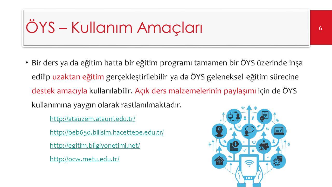 ÖYS – Kullanım Amaçları Bir ders ya da eğitim hatta bir eğitim programı tamamen bir ÖYS üzerinde inşa edilip uzaktan eğitim gerçekleştirilebilir ya da ÖYS geleneksel eğitim sürecine destek amacıyla kullanılabilir.