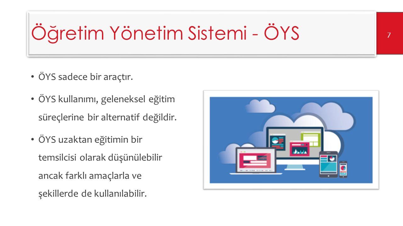 Öğretim Yönetim Sistemi - ÖYS Bilgisayar Destekli Eğitim Teknoloji Destekli Eğitim İnternet Tabanlı Eğitim Uzaktan Eğitim E-öğrenme Hizmetiçi Eğitim Yaşam Boyu Öğrenme Bireysel Öğrenme 8