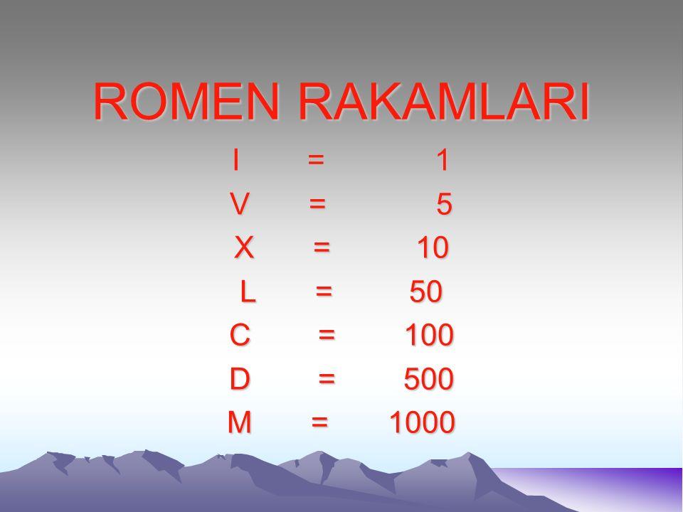 ROMEN RAKAMLARI I = 1 V = 5 X = 10 L = 50 C = 100 D = 500 M = 1000
