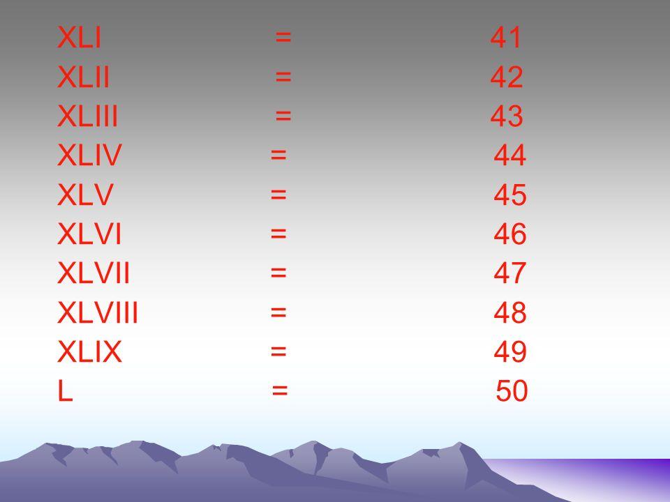 XXXI = 31 XXXII = 32 XXXIII = 33 XXXIV = 34 XXXV = 35 XXXVI = 36 XXXVII = 37 XXXVIII = 38 XXXIX = 39 XL = 40