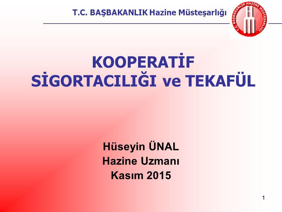 T.C. BAŞBAKANLIK Hazine Müsteşarlığı 11 KOOPERATİF SİGORTACILIĞI ve TEKAFÜL Hüseyin ÜNAL Hazine Uzmanı Kasım 2015
