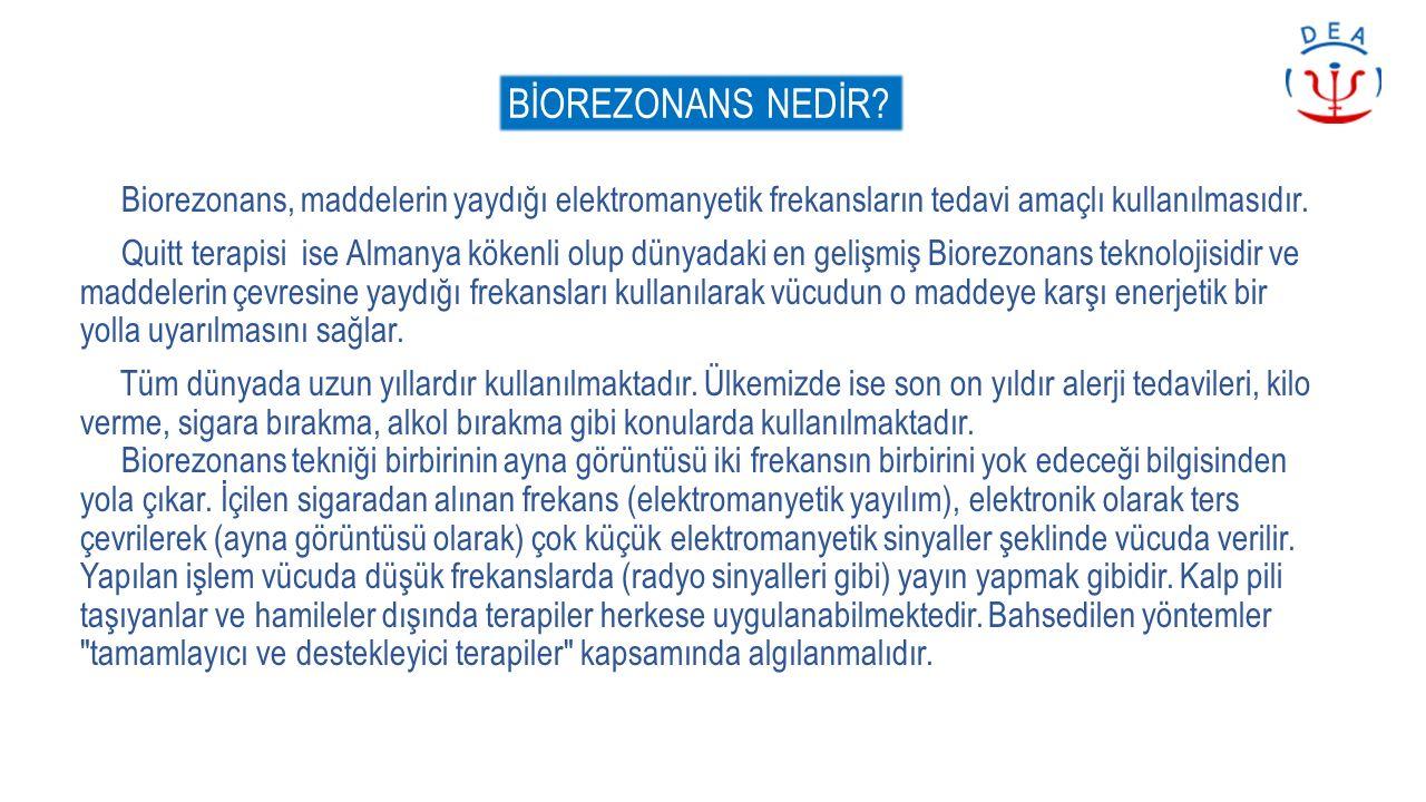 BİOREZONANS NEDİR? Biorezonans, maddelerin yaydığı elektromanyetik frekansların tedavi amaçlı kullanılmasıdır. Quitt terapisi ise Almanya kökenli olup