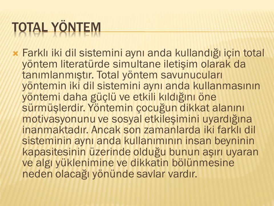  Farklı iki dil sistemini aynı anda kullandığı için total yöntem literatürde simultane iletişim olarak da tanımlanmıştır.