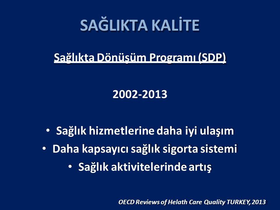 SAĞLIKTA KALİTE Sağlıkta Dönüşüm Programı (SDP) 2002-2013 Sağlık hizmetlerine daha iyi ulaşım Daha kapsayıcı sağlık sigorta sistemi Sağlık aktivitelerinde artış OECD Reviews of Helath Care Quality TURKEY, 2013