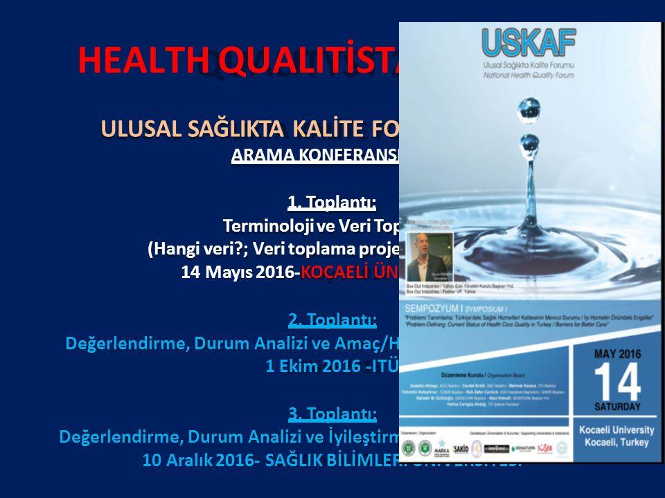 HEALTH QUALITİSTANBUL 2017 ULUSAL SAĞLIKTA KALİTE FORUMU (USKAF) ARAMA KONFERANSLARI 1.