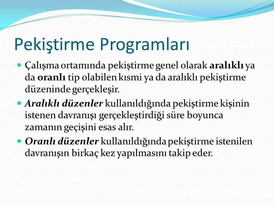 Pekiştirme Programları Dört pekiştirme programı bulunmaktadır; 1) Sabit aralıklı program; pekiştirme belli bir miktar zamanın geçişinden sonra olur.